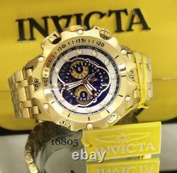 Invicta Reserve Venom Hybrid Master Calendar Gold Plated Blue Swiss Watch New