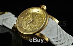 Invicta S1 Dragon YAKUZA NH35A Automatic Gold Plated SS WHITE Silicone Watch NEW