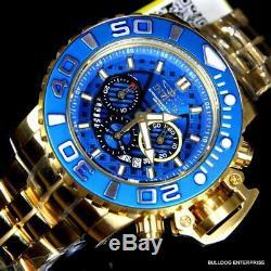 Invicta Sea Hunter III Blue 70mm Full Sized Swiss Chrono Gold Plated Watch New