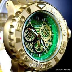 Invicta Sea Hunter II 70mm Gold Plated Green Chronograph Swiss Mvt Watch New