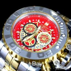 Invicta Sea Hunter II 70mm Two Tone Gold Plated Steel Red Swiss Mvt Watch New