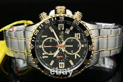 Invicta Specialty 18K Gold Plated Two Tone Black Dial Chrono S. S Bracelet Watch