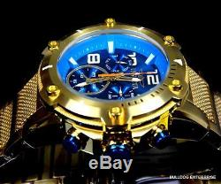 Invicta Speedway XL Teal Blue Gold Plated Chronograph Swiss Parts Watch New