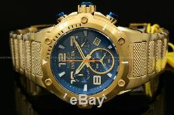 Invicta Speedway XL VIPER RondaZ60 Movt TEAL Blue Dial 18K Gold Plated S. S Watch
