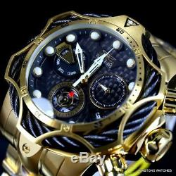 Invicta Venom Cable Chronograph Gold Plated Steel Bracelet Black 52mm Watch New