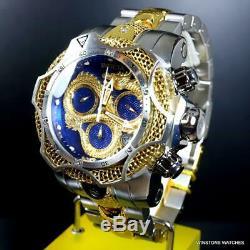 Invicta Venom Dragon Scale Swiss Chrono Steel 52mm Gold Plated Blue Watch New