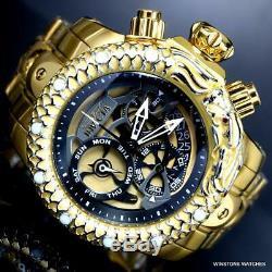 Invicta Venom Subaqua Dragon Scale Gold Plated Steel Chronograph 52mm Watch New