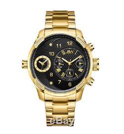 JBW 18k GOLD Ion Plated 46mm 16 DIAMONDS Swiss Quartz Dual Time-Zone Watch