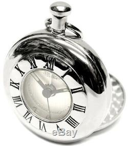 Jean Pierre Twin Lid Half Hunter Quartz Alarm Pocket Watch Chrome-Plate (D8)