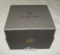 Julie Vos Catalina 24k Gold Plated Iridescent Crystal Hinge Cuff Bracelet NEW