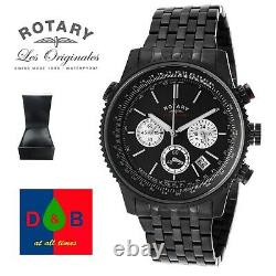 LOW PRICE Genuine ROTARY Men's GS03778 Black Ion Plated Chronograph Watch DEAL