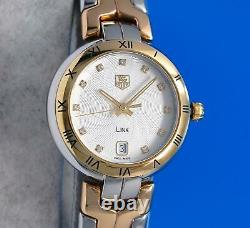 Ladies Tag Heuer Link 18K Gold plated & SS watch Silver Diamond Dial WAT1352