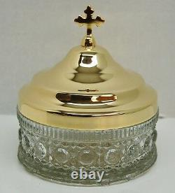 Large Crystal Glass Gold Plated Ablution Cup Church Altar 12a chalice co