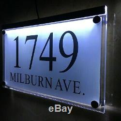 Large Crystal effect House Sign Plaques Door Numbers Name Plate Colors LED LIGHT