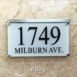 Large Crystal effect House Signs Plaques Door Numbers Name Plate White LED LIGHT