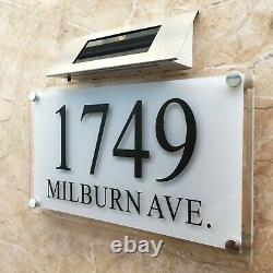 Large SOLAR LIGHT Crystal effect House Signs Plaques Door Numbers Name Plate LED