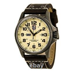 Luminox Men's Watch Plated Stainless Steel Case Beige Dial Leather Strap 1927