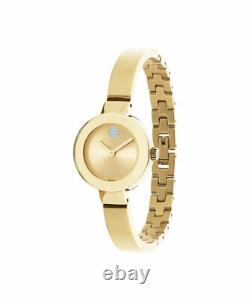 MOVADO BOLD 3600285 Small Ion Plated Gold Stainless Steel Sunray Dot 25mm Watch