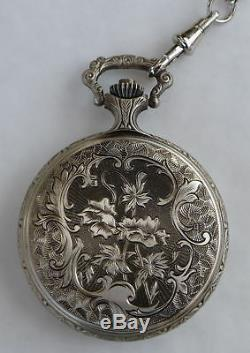 Masonic Square & Compass Chrome Plated Full Hunter Pocket Watch Quartz -LR221
