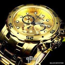 Men Invicta Pro Diver Scuba 18kt Gold Plated Steel Chronograph 48mm Watch New