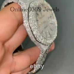 Men's 41mm Natural VVS Round Moissanite Wrist Watch in 14k White Gold Plated