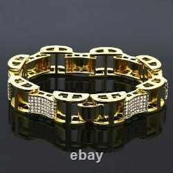 Men's Gold Plated Dome Hollow Bracelet Kodak Clear Cz Link Hip Hop 9