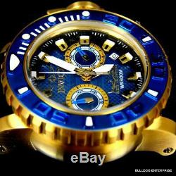 Men's Invicta Sea Hunter Blue Chronograph 50mm 18kt Gold Plated Watch Rubber New