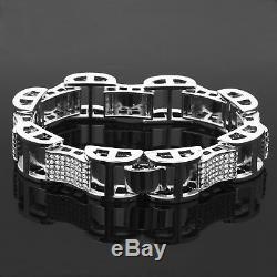 Men's Silver Plated Dome Hollow Bracelet Clear Cz Link Hip Hop 9