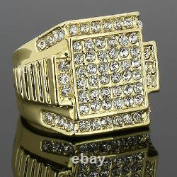 Mens 14k Gold Plated Hip Hop Style 6 Square Ring CZ Crystal Pinky