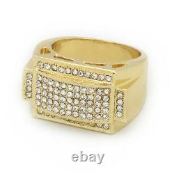 Mens 14k Gold Plated Hip Hop Style Square Ring CZ Crystal Pinky