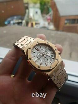 Mens Didun Design Rose Gold Plated Chronograph Homage Watch Quartz White Dial UK