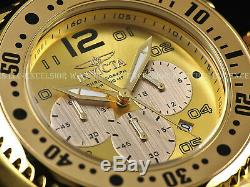 Mens Invicta Huge 52mm Knurled SS 500M Diver 18k Gold Plated Sunray Dial Watch