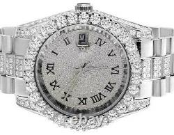 Mens White Gold Plated Steel Jewelry Unlimited 40MM Simulated Diamond Watch