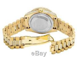 Mens Yellow Gold Plated Steel Jewelry Unlimited 40MM Simulated Diamond Watch