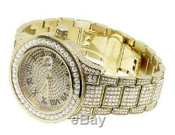 Mens Yellow Gold Plated Steel Jewelry Unlimited 45MM Simulated Diamond Watch