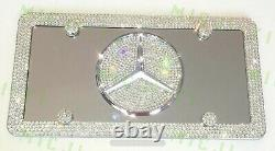 Mercedes Benz Front Vanity Stainless Plate W Crystal Frame W Swarovski Crystals