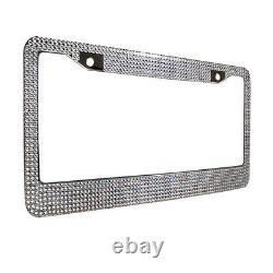 Metal License Plate Frame Bling RhineStone Chrome Crystal Diamond Glitter 2pcs