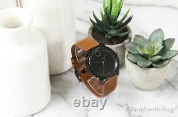 Movado (3600489) Bold Black Ion-Plated Case Brown Leather Strap Wrist Watch