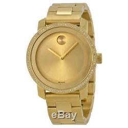 Movado Bold Diamond Gold Dial Gold Ion-plated Unisex Watch 3600150