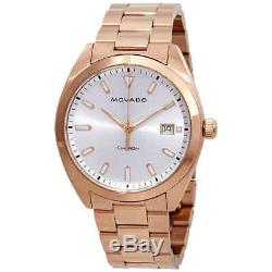 Movado Heritage Silver Dial Rose Gold-plated Men's Watch 3650058