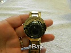 Movado Sapphire Mens Gold Plated Stainless Mirror Dial Quartz Watch 0607180