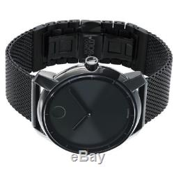 Movado Swiss Bold Black Ion-Plated Stainless Steel Mesh Bracelet Watch 44mm