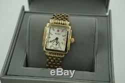 NEW! $1395 Michele Deco Watch Stainless Gold Plated Quartz MW06V00A9046