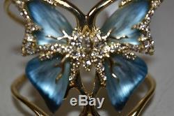 NEW Alexis Bittar Azure Blue JARDIN Mystère Gold plated Butterfly Cuff Bracelet