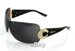NEW Genuine CHOPARD Sunglasses Gold Plated Crystal Black Shield SCH 939 S 300X