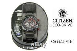 NEW IN BOX! Mens Citizen CA4195-51E Eco-Drive Black Ion Plated Chronograph Watch