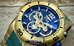 NEW Invicta 31165 Bolt 50MM Alloy Blue Dial Chronograph 18k Gold Plated Watch