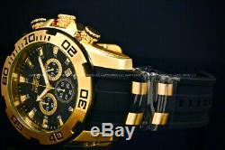 NEW Invicta 50MM Scuba Pro Diver 18K Gold Plated Chrono Black Dial Strap Watch