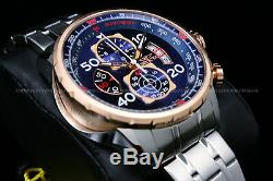 NEW Invicta Aviator Men's18K Rose Gold Plated Blue Dial Tachy S. S Chrono Watch