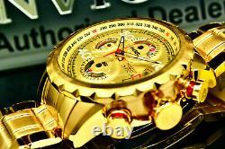 NEW Invicta Men 48mm AVIATOR BOLT FLIGHT Dial 18k Gold Plated S. S Bracelet Watch